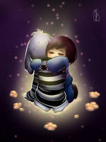 Frisk hugs Asriel Undertale fan art by Mildemme