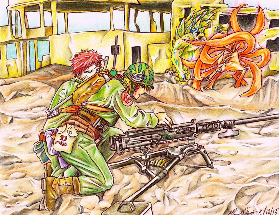 Battlefield - Naruto and Gaara by happylilsquirrel