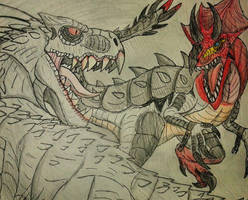 Indominus Rex vs. Ultimasaurus  by Erickzilla
