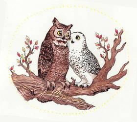 Inktober #02 - Owls in Love by Penguinity