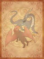 Dragon and  Gryphon by Maria-Lourana