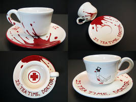 TeaF2 - Medic themed teacup and saucer by crtoonmastr