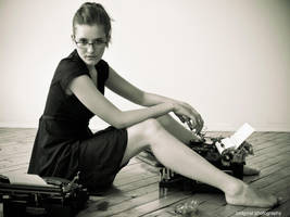 Girl at Typewriter by Scherbius