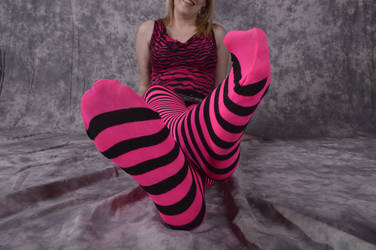 T in pink striped tights 3 by NylonicLeopard