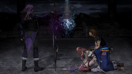 Confrontation - Caius, Noel, and Serah by andersoncathy
