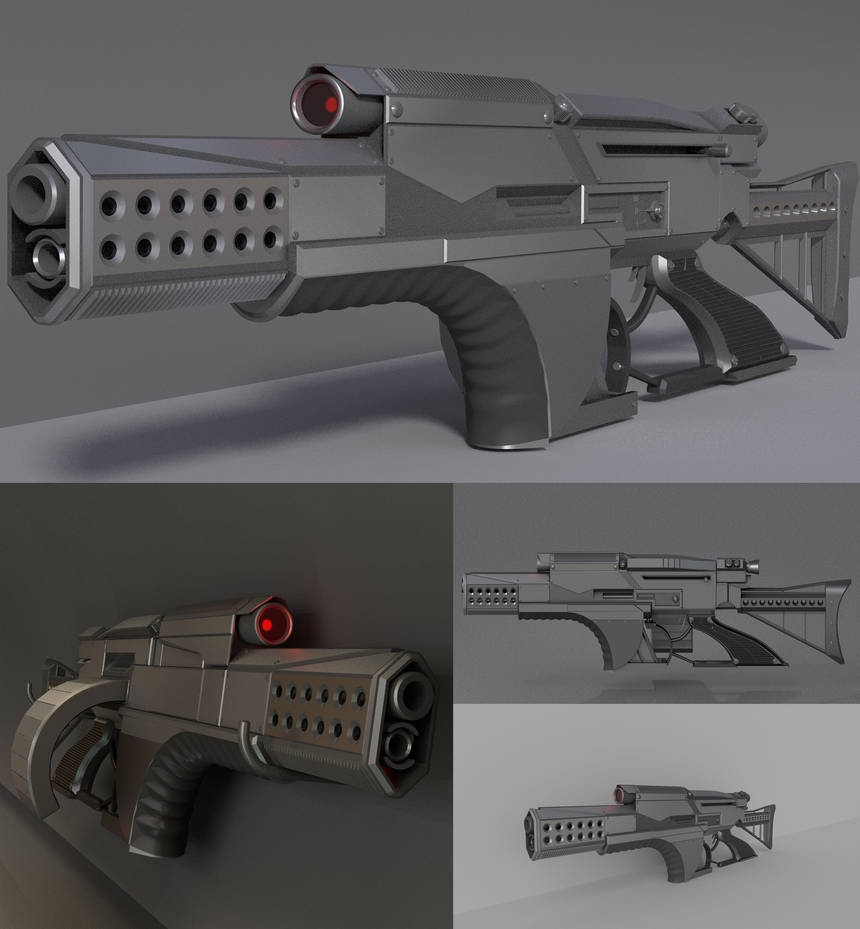 A futuristic weapon concept (high-poly) by DennisH2010