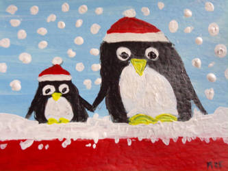 Hand painted Christmas card penguins by Buffy2008