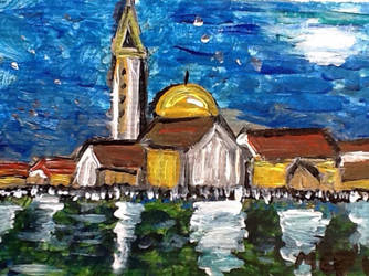 Hand painted aceo card Moon light in Venice by Buffy2008