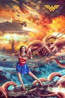 Wonder Woman VS The Octopus by dennybusyet