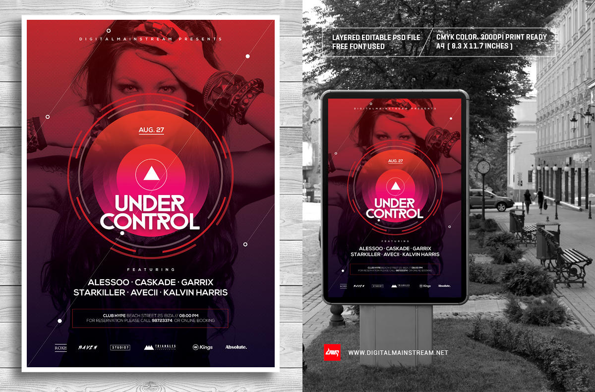 Under Control Electro Music Poster Template by dennybusyet