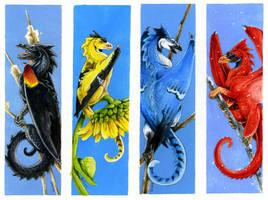 Bird Dragon bookmarks set 1 by Hbruton