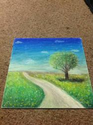 Oil Pastel Field Scene by Aznoodleface