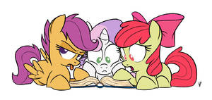 Three unnamed fillies read an untitled book by GlancoJusticar