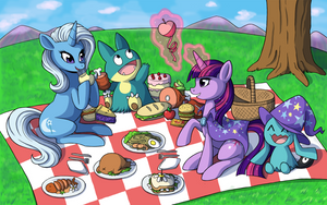 COMMISSION: Trixie and Twilight Picnic by CatsnCupcakes