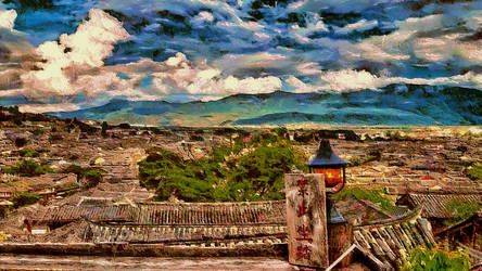 Lijiang, China Cityscape by montag451