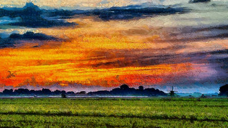 Windmill Dawn by montag451