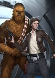 Commander Han Solo and Chewbacca by Shoguneagle