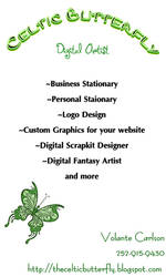 Celtic Butterfly Biz card by FullMoonArtists