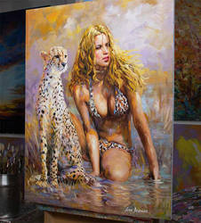 The Observer Oil Painting by Leon Devenice by leondevenice