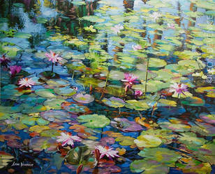Water lilies oil painting by Leon Devenice by leondevenice