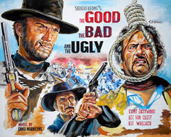 The Good The Bad The Ugly Clint Eastwood paintin by SpirosSoutsos