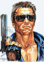 Terminator Movie Poster Arnold Schwarzenegger by SpirosSoutsos