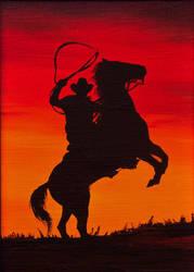 A Cowboy riding into the sunset by BozhenaFuchs