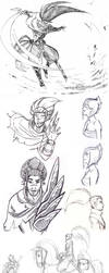 Sketch Dump II - Yasuo Riven different styles by Black--Moth