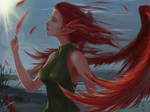 Red feathers by JeySpade