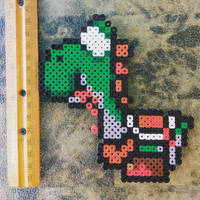 Zombie Yoshi by perler-me-this