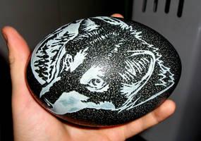 Mexican Grey Wolf - Emu Egg by LyrebirdJacki