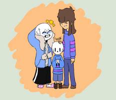 [Sans x Frisk] Undertale - A happy family by Stella-X
