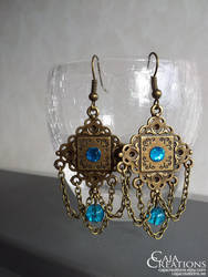 Blue bead chain earrings by petrova