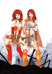 Red Monika + Red Sonja by hermes-augusto