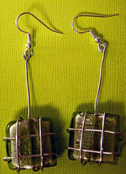 Wire Wrapped Bead Earrings by confusedcious