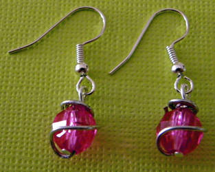 Pink Wrapped Bead Earrings by confusedcious