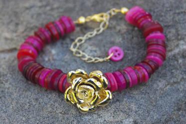 Rose Button Bracelet by confusedcious