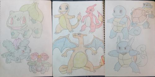 Pokemon Starters sketched by DewlShock
