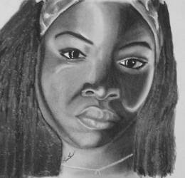 Michonne from TWD in charcoal by IamDogged