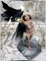 Eagle Huntress #89 OOAK Sculpture Art Doll by bornbrightdolls
