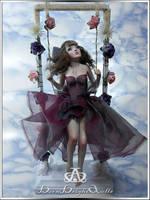 Lavender Lolita #91 OOAK Sculpture by bornbrightdolls