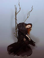 Dark Forest Halloween Witch OOAK Sculpture by bornbrightdolls