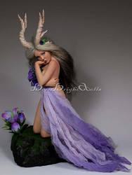 Midnight Bouquet Huntress OOAK Sculpture by bornbrightdolls