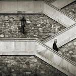 man + lamp + stairs by anjelicek