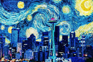 Seattle Under The Starry Night by SilentMobster42
