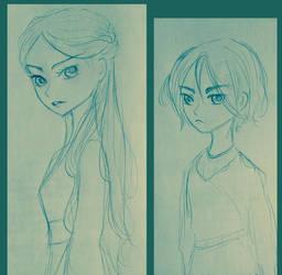 Sketch - Arya and Sansa Stark by FuranBi