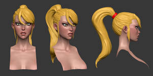 Samus Zero Suit Head Sculpt WIP by iononemillion