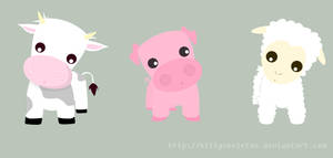 cow pig sheep by KittySkeleton