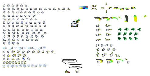 My kirby FC : Np(Neptunium) sprite sheet by watannabe0125