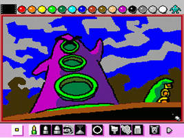 Mario Paint: Purple Tentacle by emiliosan